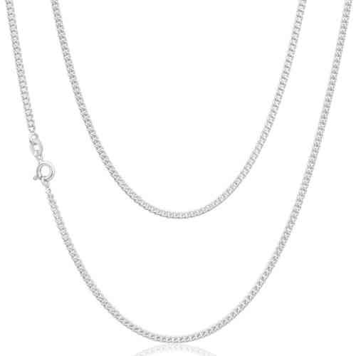 Ladies 18 inch 18ct white Gold Curb Chain Necklace