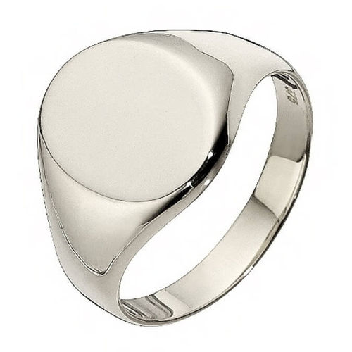 Mens oval Sterling Silver Signet Ring 16mm