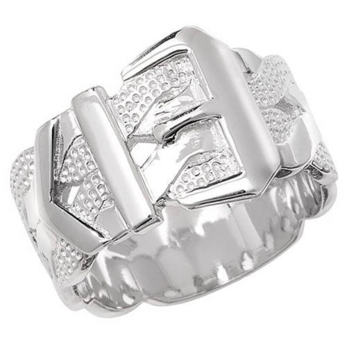 Men's solid Sterling Silver Buckle Ring