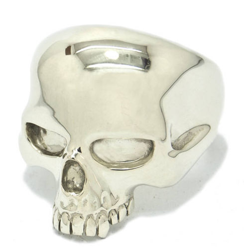 Mens solid 9ct white Gold Skull Ring 24 grams