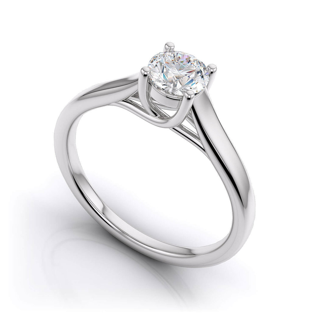 9ct White Gold Round Solitaire Diamond Ring 15158
