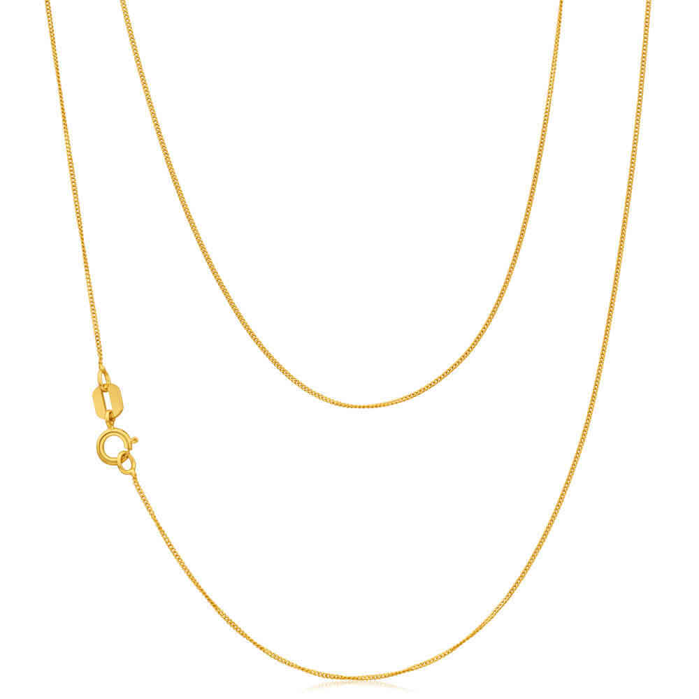 18 Inch 18ct Gold Diamond Cut Curb Chain Necklace 1 2 Grams