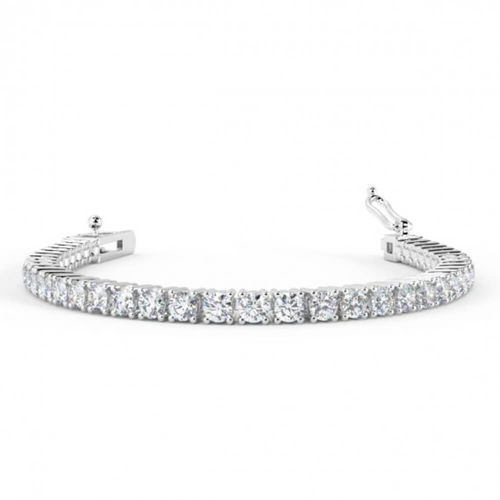 18ct White Gold 5 Carat round Diamond Tennis Bracelet