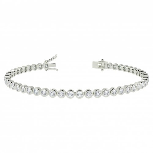 9ct white Gold 7 inch 2 Carat round Bezel set Diamond Tennis Bracelet