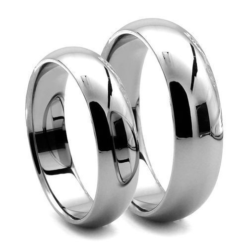 9ct White Gold Matching 3mm 5mm D Shape Wedding Rings