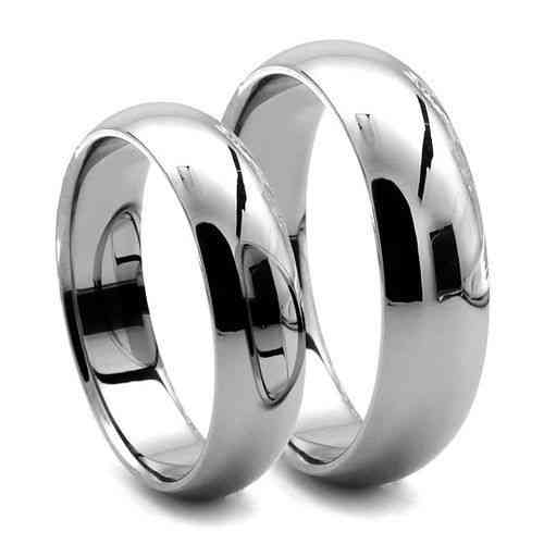 His & Hers 9ct white Gold 3mm & 6mm D shape Wedding Rings