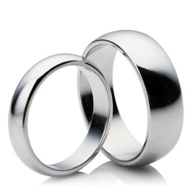 His & Hers 18ct white Gold matching 3mm & 5mm D shape Wedding Rings