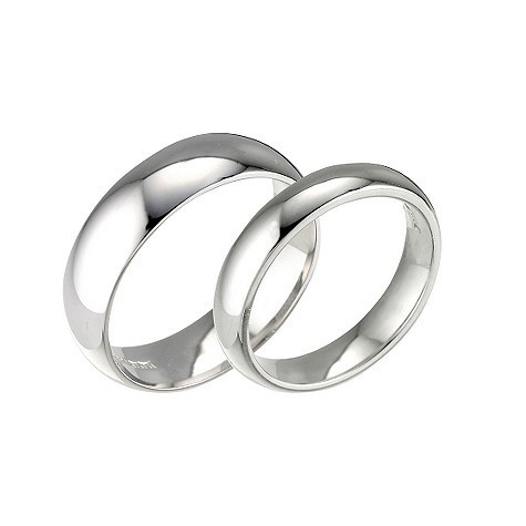 His Hers 18ct White Gold Matching 2mm 5mm D Shape Wedding Rings