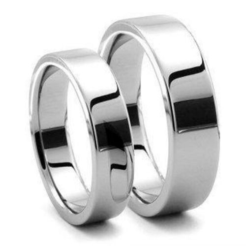His & Hers 9ct white Gold 3mm & 6mm flat shape Wedding Rings