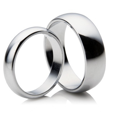 His & Hers matching 3mm & 5mm D shape Platinum Wedding Rings