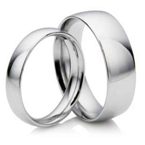His & Hers 2mm & 5mm D shape Platinum Wedding Rings