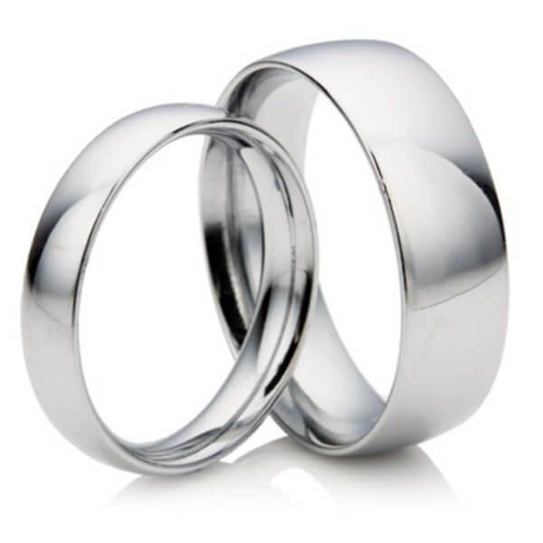 matching 2mm 4mm court shape platinum wedding rings