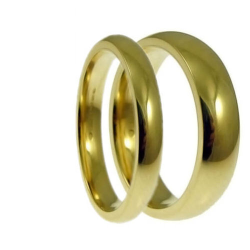 Matching 18ct Gold 2mm & 5mm Court shape Wedding Rings