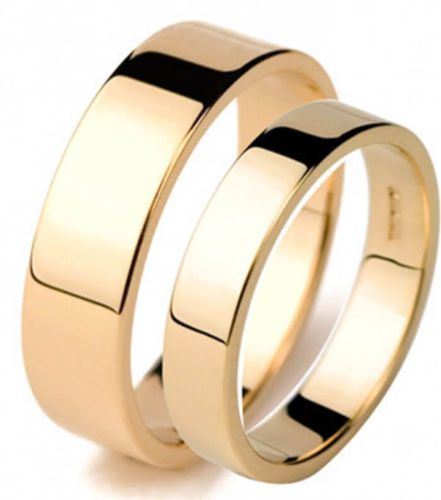 Matching 9ct yellow Gold 3mm & 6mm flat shape Wedding Rings