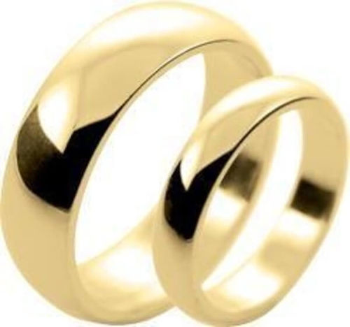 His & Hers 18ct Gold 2mm & 5mm D shape Wedding Rings