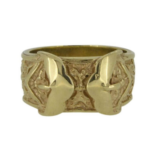 Men's heavy solid 9ct Gold double Buckle Ring 28 grams