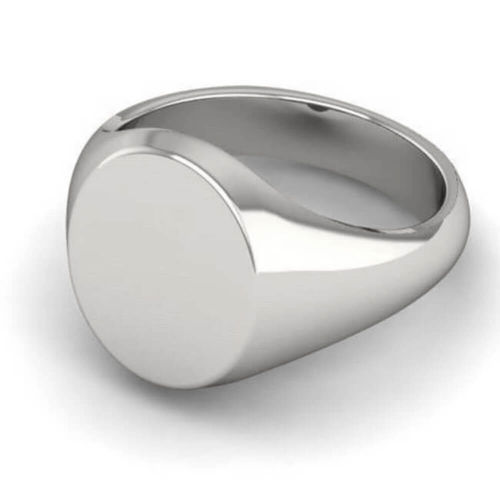 Mens Sterling Silver Oval Signet Ring 16mm