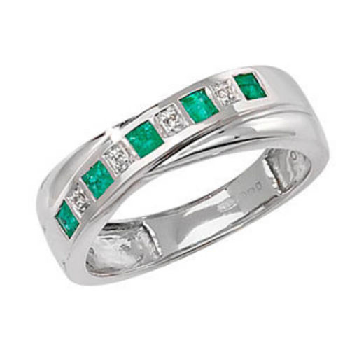 9ct white Gold 0.12 Carat Emerald & Diamond Eternity Ring