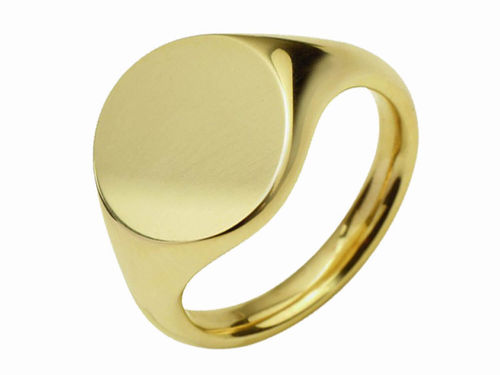 Men's 18ct Gold 13mm round Signet Ring 10 grams