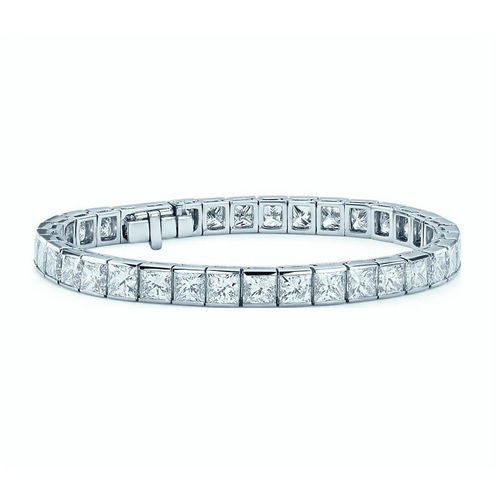 18ct white Gold 8 1/2 Carat Princess Diamond Tennis Bracelet