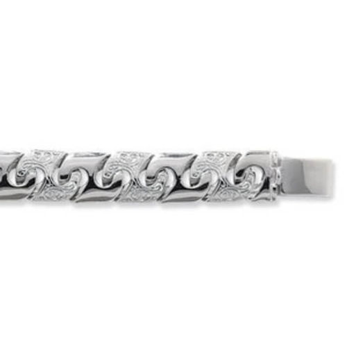 Mens 8 inch Sterling Silver pattern and plain Curb Bracelet