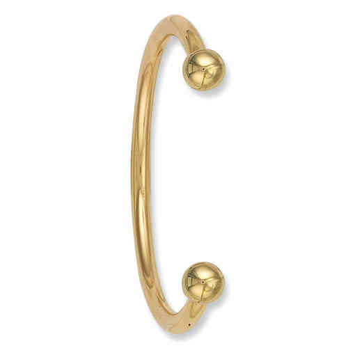 Solid 9ct Gold 5mm round Torque Bangle with solid ends 56 grams
