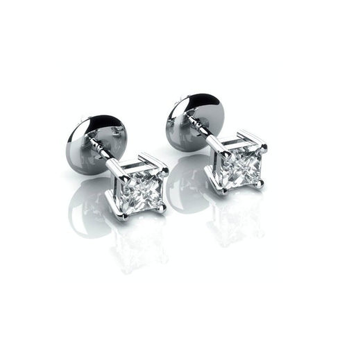 18ct white Gold 1/2 Carat Princess Diamond stud Earrings