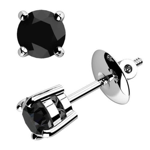 9ct white Gold 1 1/2 Carat round black Diamond stud Earrings