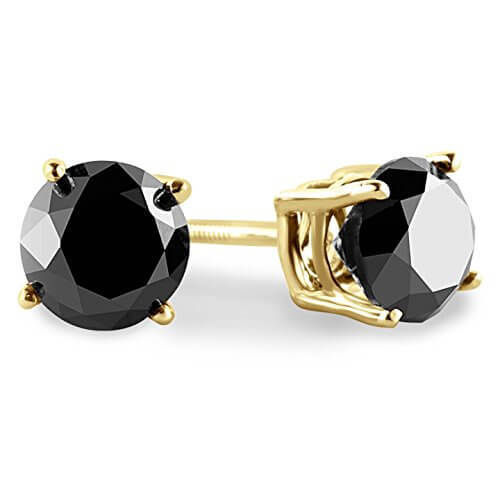 9ct yellow Gold 0.50 Carat round black Diamond stud Earrings