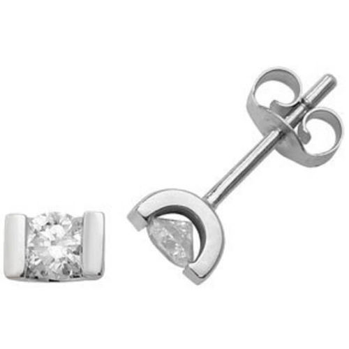 9ct white Gold G-H/I1 0.45ct round Diamond stud Earrings