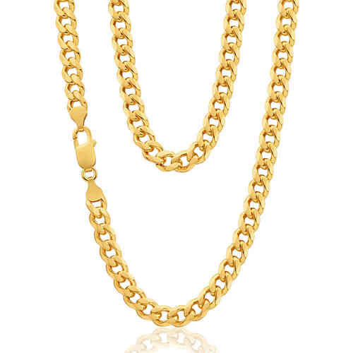 Mens solid 20 inch 9ct Gold Curb Chain 49 grams