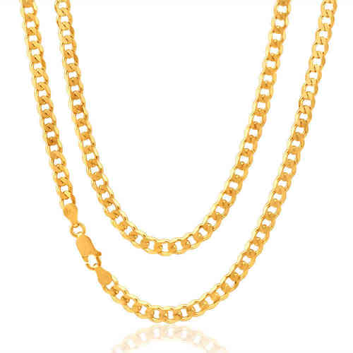 Mens solid 9ct yellow Gold 20 inch flat bevelled Curb Chain