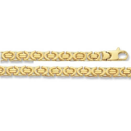 Men's 8 inch solid 9ct Yellow Gold flat Byzantine Bracelet