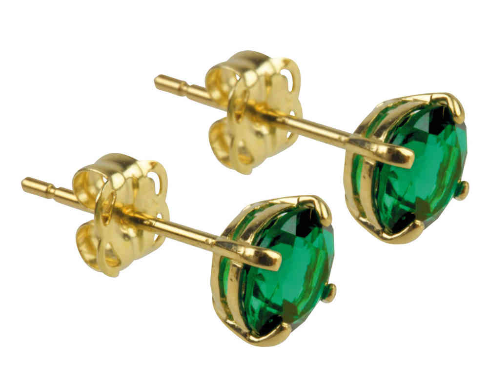 9ct Gold 5mm Synthetic Emerald May Birthstone Stud Earrings