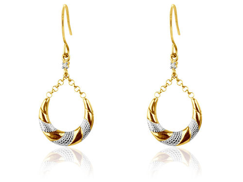 9ct yellow Gold CZ Creole style drop hoop Earrings