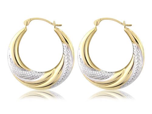 Large 9ct Gold & white rhodium Creole style twist hoop Earrings