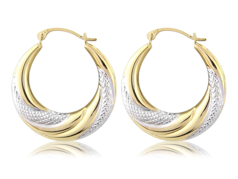 Large 9ct Gold & white rhodium Creole hoop Earrings - NEWBURYSONLINE
