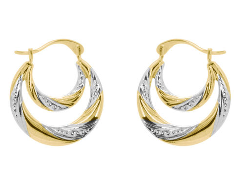 9ct Gold double Creole style twist hoop Earrings