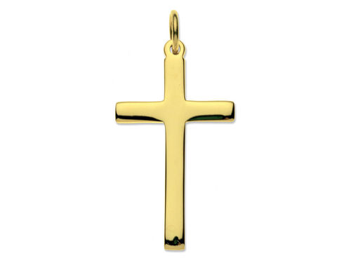 9ct yellow Gold 33mm medium Latin Cross Pendant