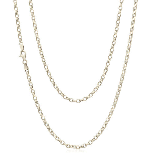 18 inch 18ct white Gold tri Belcher Chain Necklace 3.5 grams