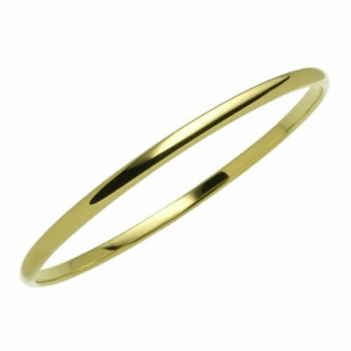 Solid 18ct Yellow Gold 4mm D shape Bangle 22 grams