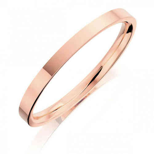Solid 18ct rose Gold 3mm flat shape Bangle 16 grams