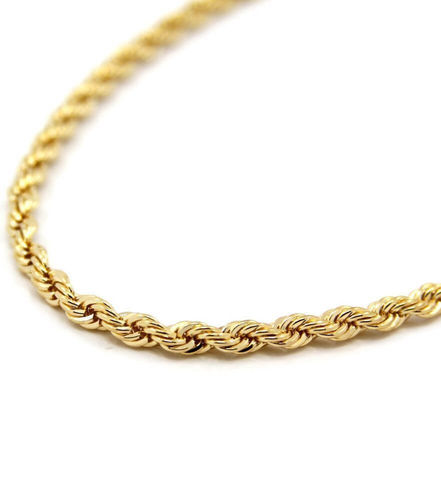9ct Yellow Gold Rope Chain Necklace 18 inch 5 grams
