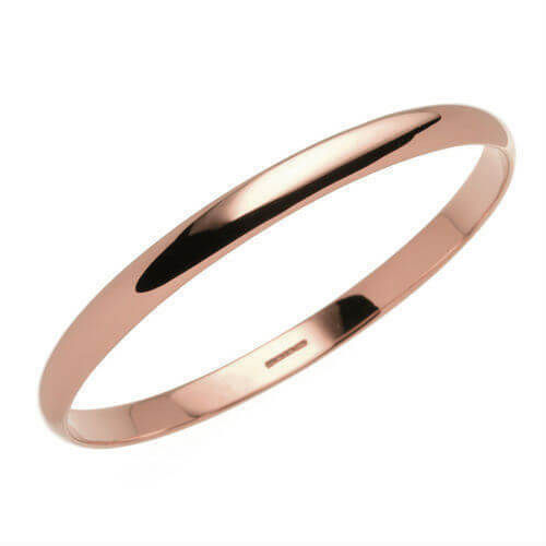 Solid 9ct rose Gold 6mm D shape Bangle 22 grams