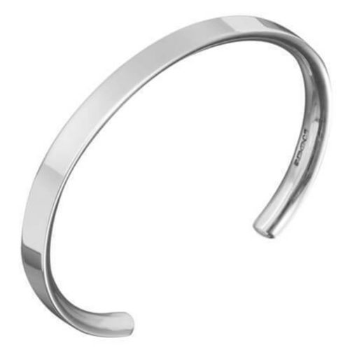 Solid 9ct White Gold open 4mm flat Bangle 14 grams