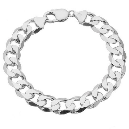 Mens 8 inch heavy Sterling Silver Curb Chain Bracelet