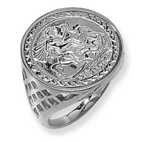 Men's Sterling Silver Saint George & Dragon Coin Ring