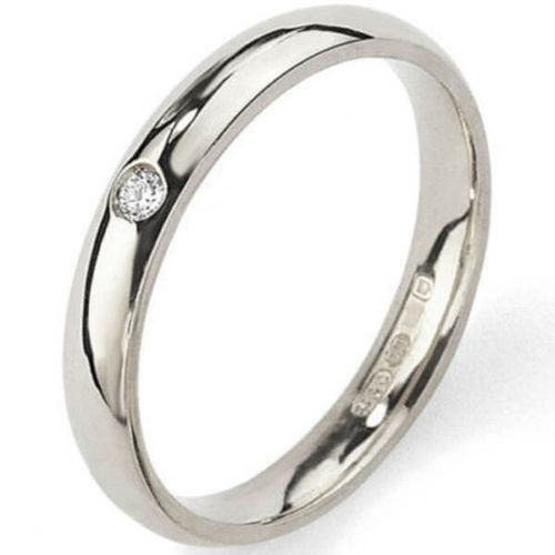 Womens 9ct white Gold round Diamond 4mm Court shape Wedding Ring
