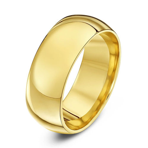 Men's heavy 18ct Yellow Gold 8mm Court shape Wedding Ring 13 grams