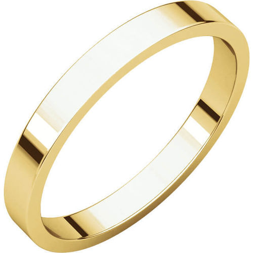 Womens 18ct Gold 2 1/2mm flat shape Wedding Ring